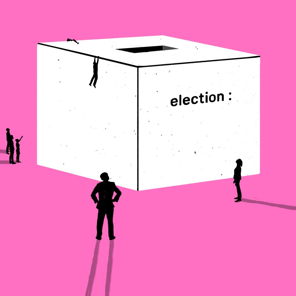 "Illustration of ballot box in pink and white. Box says ""election"""